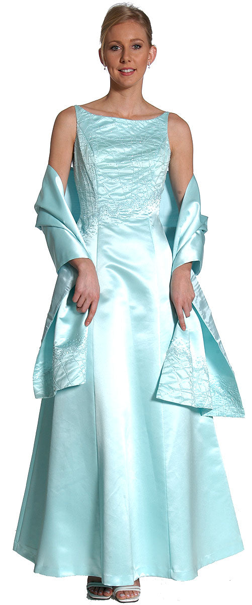 Image of Boat Neck A-line Beaded Classic Formal Prom Dress in Aqua