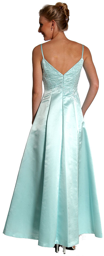 Image of Boat Neck A-line Beaded Classic Formal Prom Dress back in Aqua