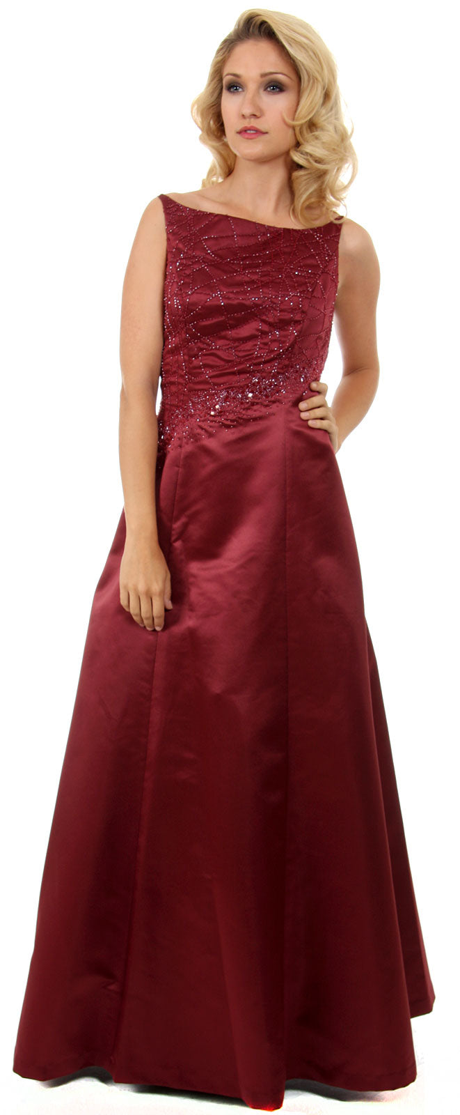 Main image of Boat Neck A-line Beaded Classic Formal Prom Dress