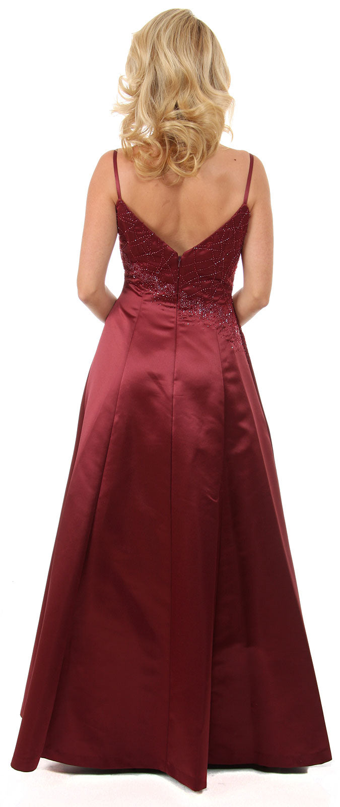 Back image of Boat Neck A-line Beaded Classic Formal Prom Dress