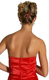 Image of Strapless Satin Short Evening Dress back in Red