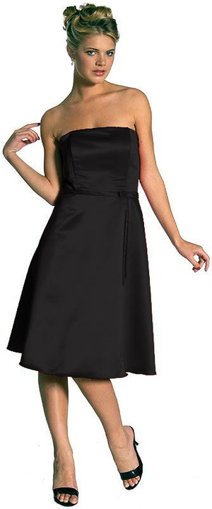 Image of Strapless Satin Short Evening Dress in Black
