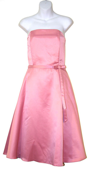 Image of Strapless Satin Short Evening Dress in Dusty Pink color