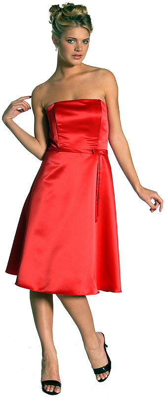 Image of Strapless Satin Short Evening Dress in Red