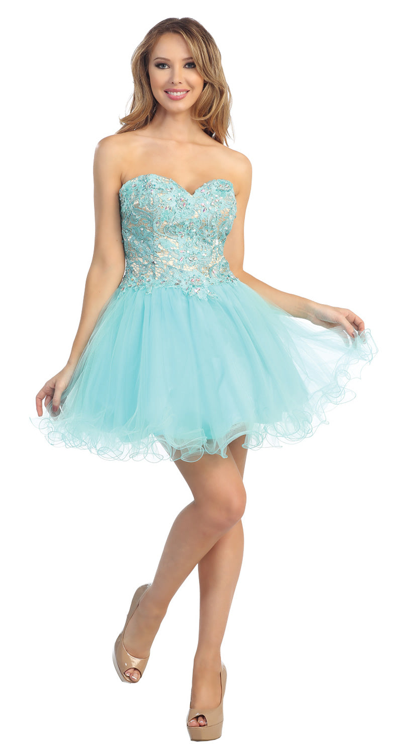 Image of Strapless Floral Lace Bust Tulle Short Party Prom Dress in Aqua/Nude