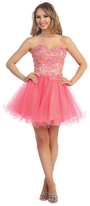Image of Strapless Floral Lace Bust Tulle Short Party Prom Dress in Coral/Nude