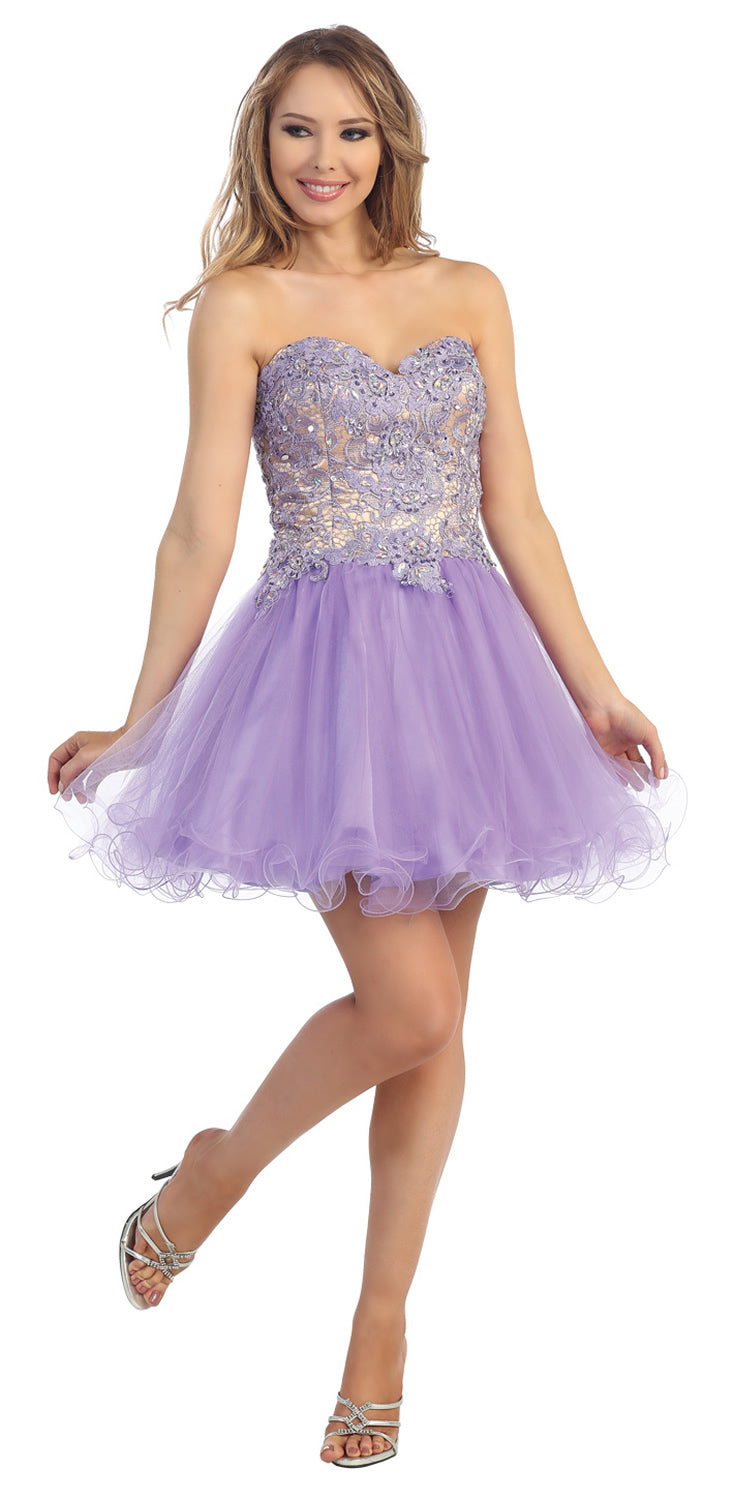 Image of Strapless Floral Lace Bust Tulle Short Party Prom Dress in Lavender/Nude