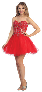 Image of Strapless Floral Lace Bust Tulle Short Party Prom Dress in Red/Nude