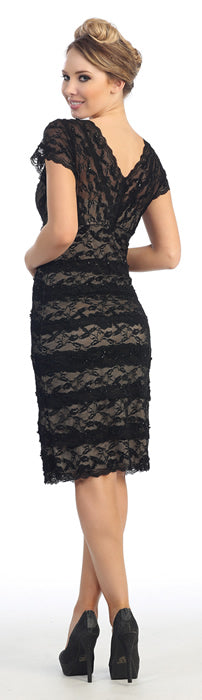 Back image of V-neck Short Sleeves Short Formal Party Dress In Lace