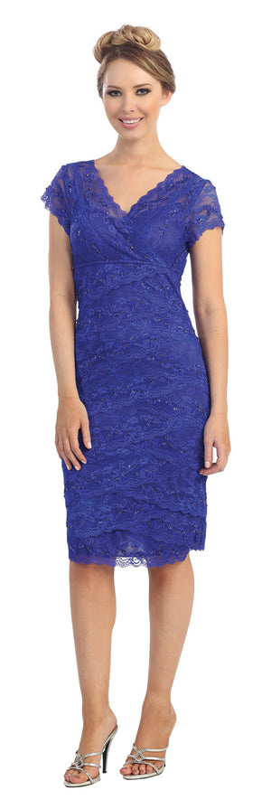 Image of V-neck Short Sleeves Short Formal Party Dress In Lace in Royal Blue