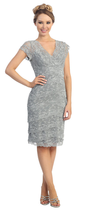 Image of V-neck Short Sleeves Short Formal Party Dress In Lace in Silver