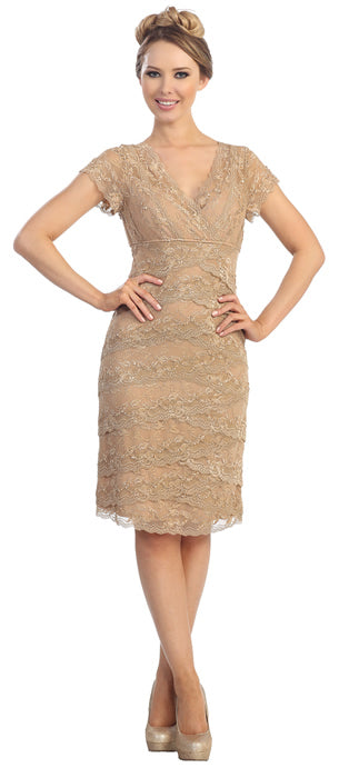 Image of V-neck Short Sleeves Short Formal Party Dress In Lace in Taupe
