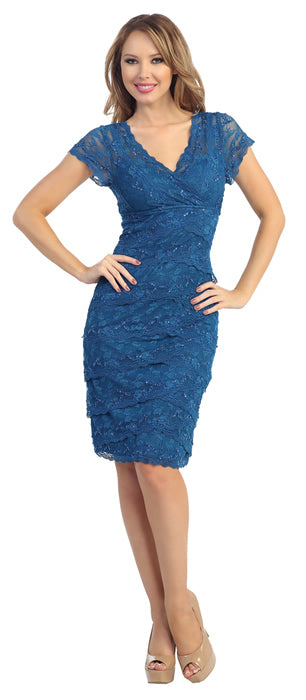 Image of V-neck Short Sleeves Short Formal Party Dress In Lace in Teal