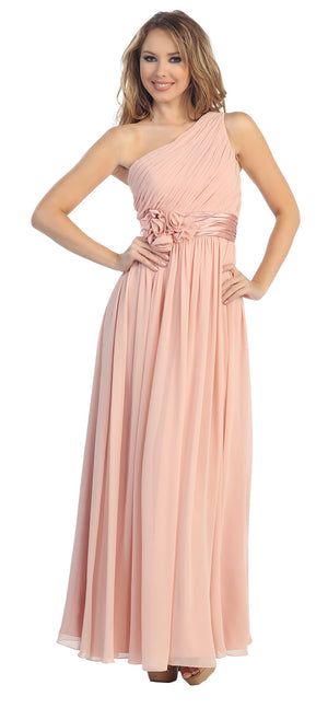 Image of One Shoulder Floral Accent Formal Bridesmaid Dress in Blush