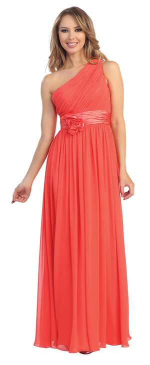 Image of One Shoulder Floral Accent Formal Bridesmaid Dress in Coral