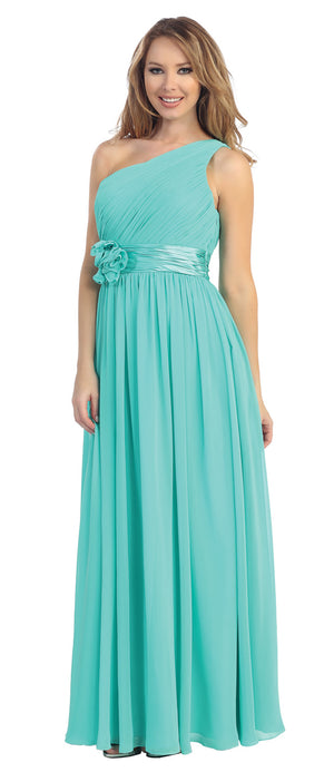 Image of One Shoulder Floral Accent Formal Bridesmaid Dress in Jade Green