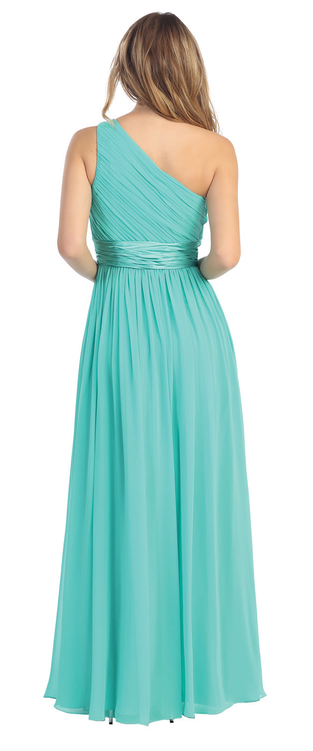 Image of One Shoulder Floral Accent Formal Bridesmaid Dress back in Jade Green