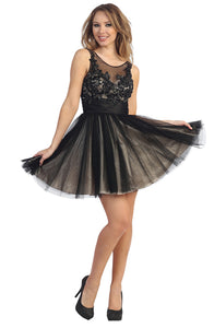 Main image of Floral Beaded Bust Tulle Short Formal Prom Dress