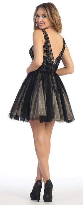 Back image of Floral Beaded Bust Tulle Short Formal Prom Dress