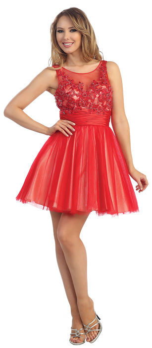 Image of Floral Beaded Bust Tulle Short Formal Prom Dress  in Red/Nude