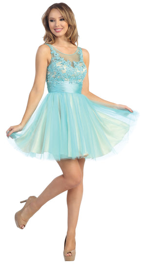Image of Floral Beaded Bust Tulle Short Formal Prom Dress  in Turquoise/Nude
