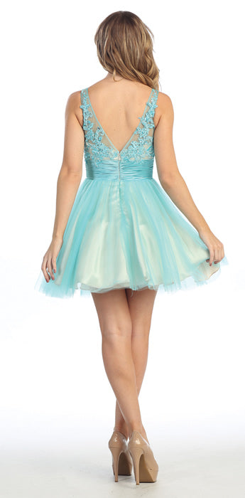 Image of Floral Beaded Bust Tulle Short Formal Prom Dress  back in Turquoise/Nude