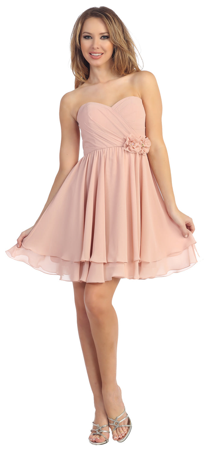 Image of Strapless Overlap Bust Floral Accent Short Party Dress in Blush
