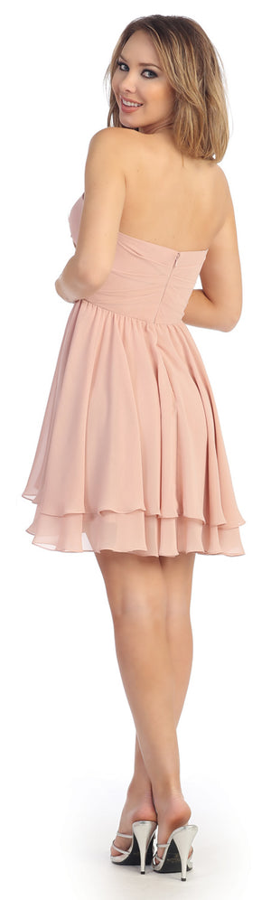 Image of Strapless Overlap Bust Floral Accent Short Party Dress back in Blush