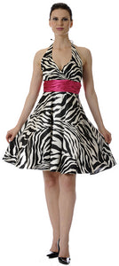 Main image of Halter Neck Zebra Print Short Party Dress