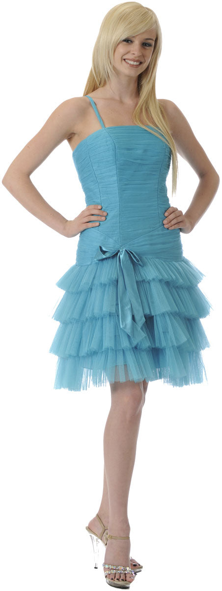 Main image of Satin Bow Spaghetti Strap Party Dress