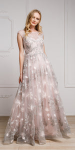 Main image of Floral & Embroidered Full Length Prom Gown
