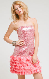 Main image of Strapless Metallic Bodice Short Dress With Tiered Hem