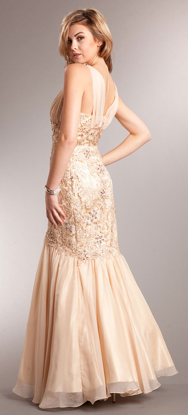 Back image of Bejeweled Lace Bodice Mermaid Skirt Long Formal Prom Gown