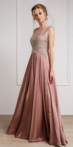 Main image of Embellished Sheer Top Long Prom Pageant Satin Dress