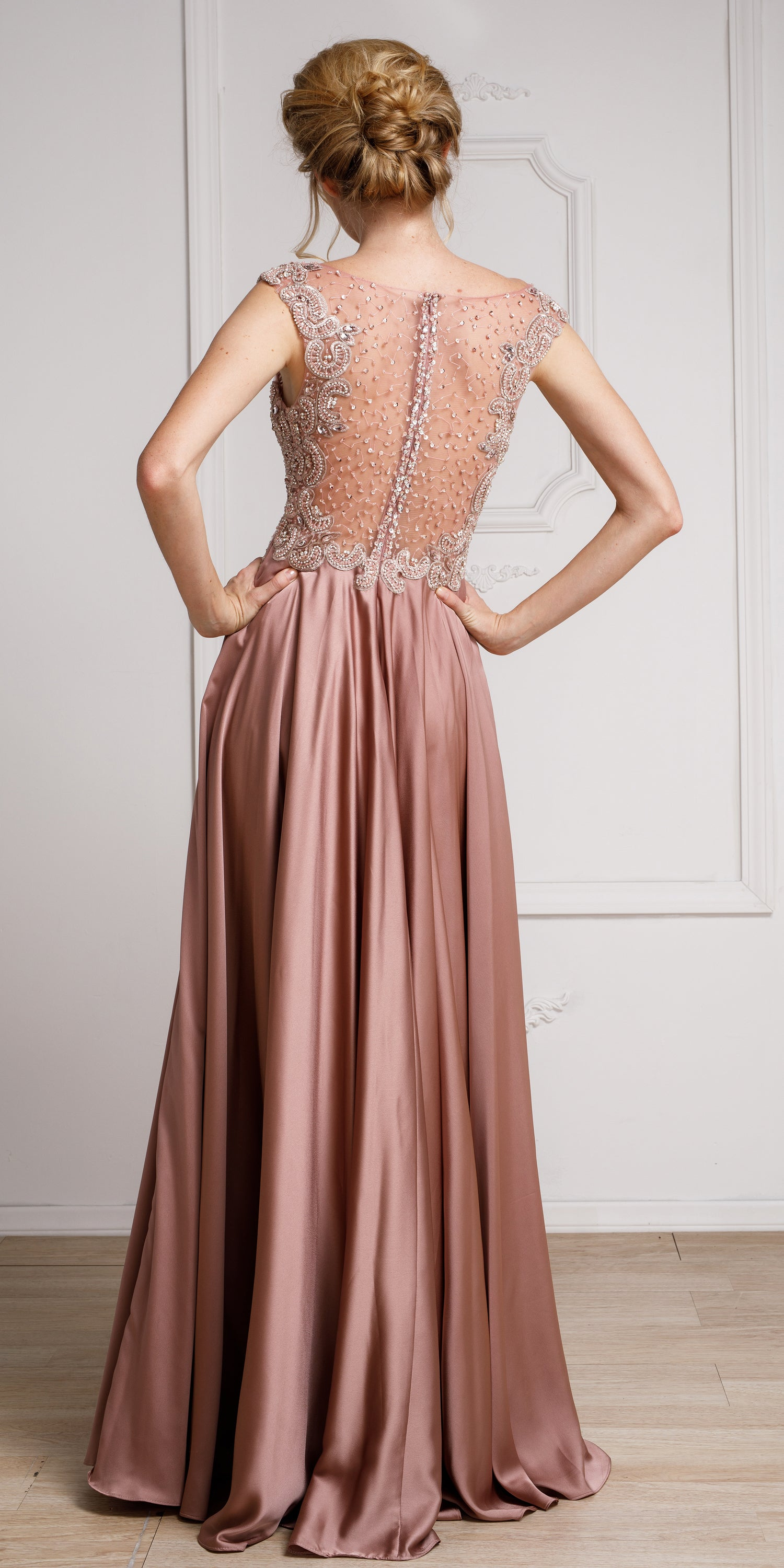Back image of Embellished Sheer Top Long Prom Pageant Satin Dress