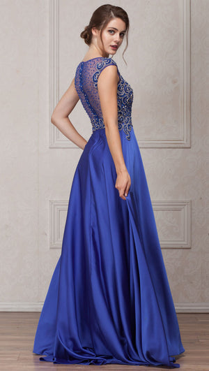 Image of Embellished Sheer Top Long Prom Pageant Satin Dress back in Royal Blue