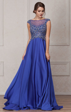 Image of Embellished Sheer Top Long Prom Pageant Satin Dress in Royal Blue