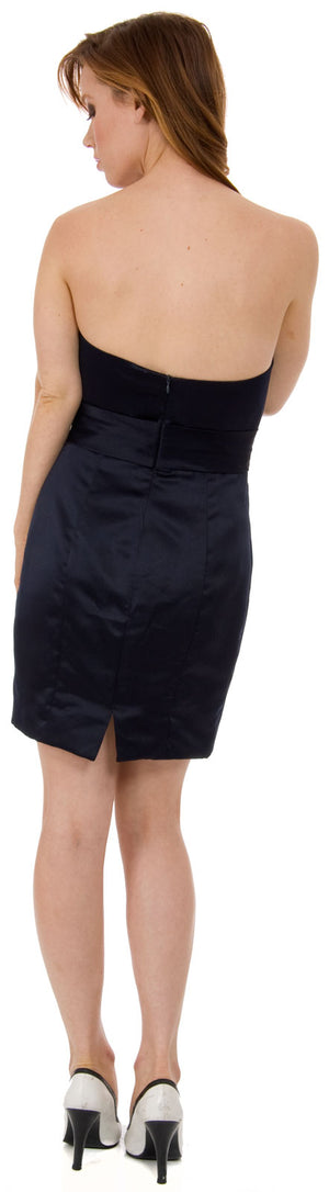 Image of Satin Mini Bridesmaid Cocktail Dress  back in Black