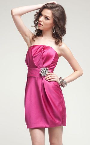 Image of Satin Mini Bridesmaid Cocktail Dress  in alternative picture
