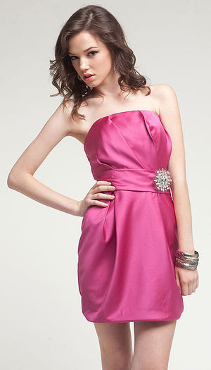 Main image of Satin Mini Bridesmaid Cocktail Dress