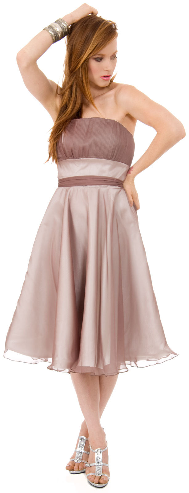 Image of Strapless Bridesmaid Dress With Detachable Sash in Mocha