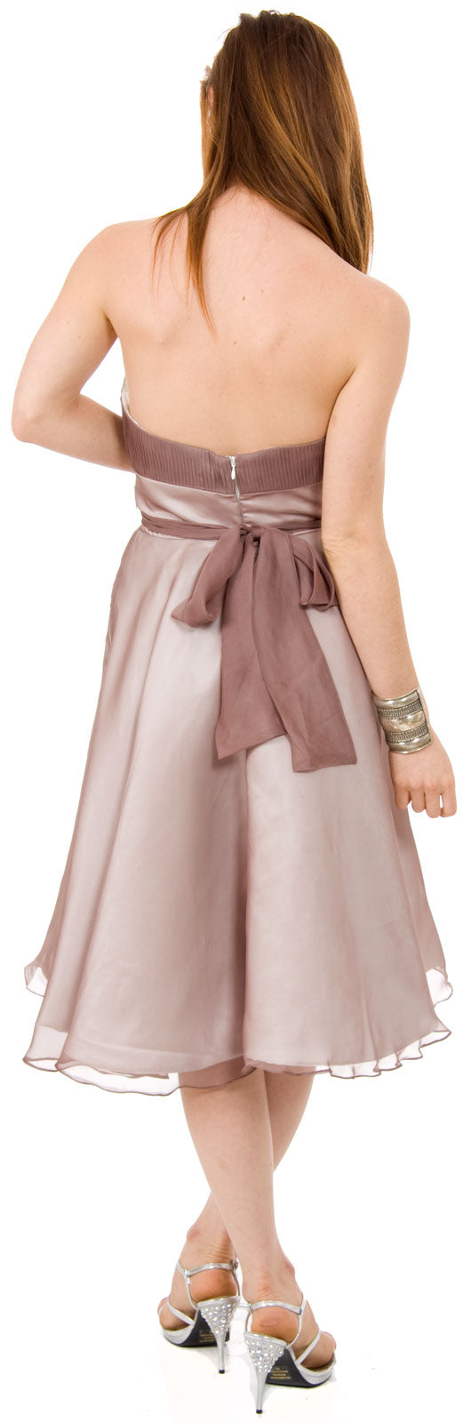Image of Strapless Bridesmaid Dress With Detachable Sash back in Mocha