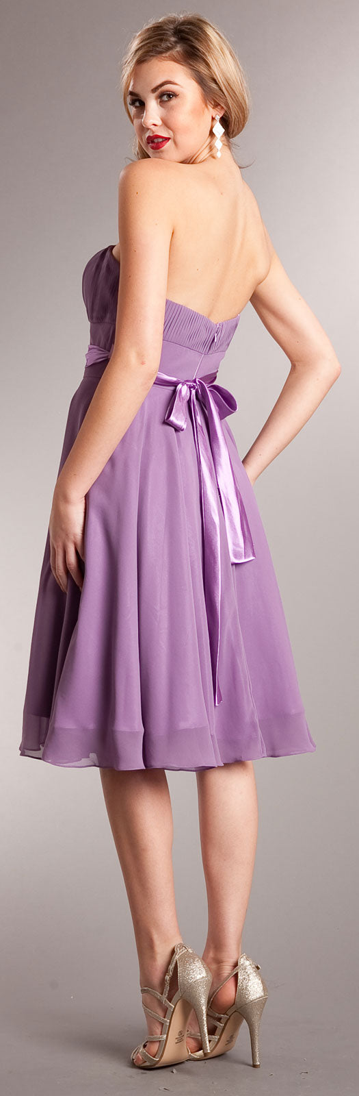 Back image of Strapless Bridesmaid Dress With Detachable Sash