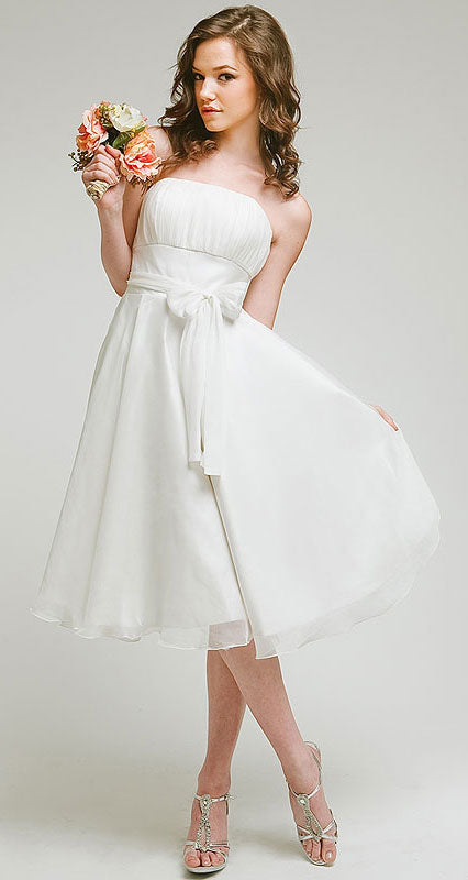 Image of Strapless Bridesmaid Dress With Detachable Sash in White