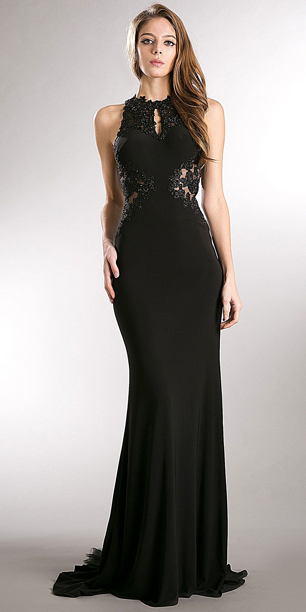 Image of Beaded Lace & Mesh Bodice Long Prom Pageant Dress in Black