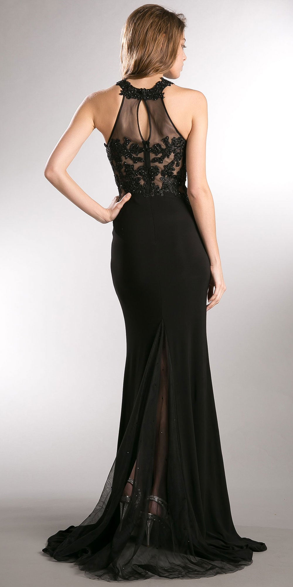 Image of Beaded Lace & Mesh Bodice Long Prom Pageant Dress back in Black