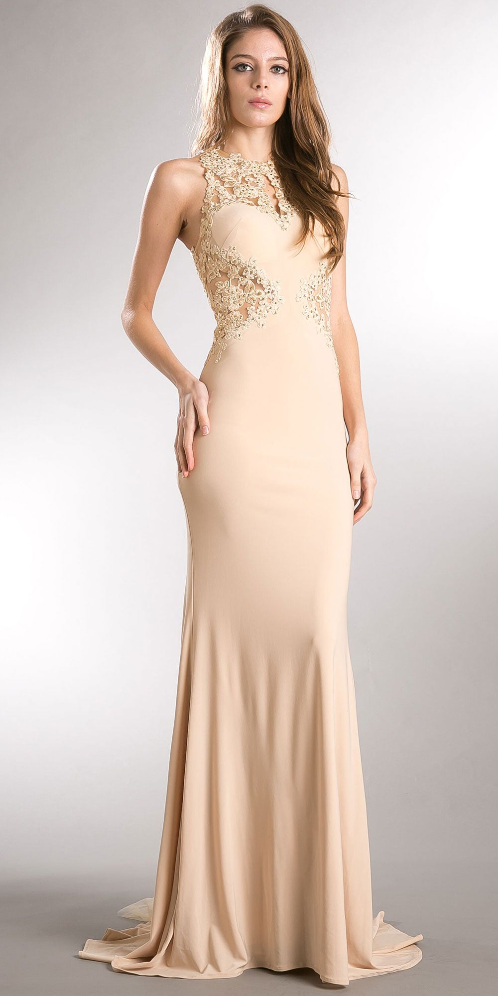 Image of Beaded Lace & Mesh Bodice Long Prom Pageant Dress in Champaign