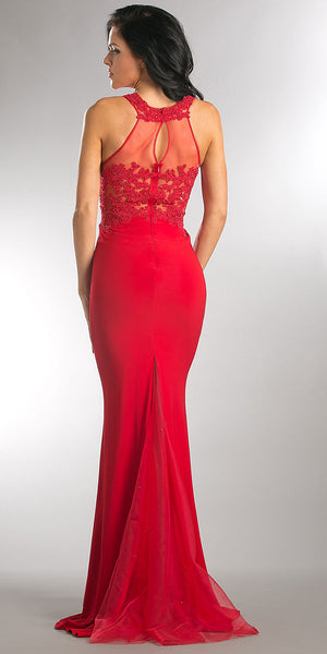 Back image of Beaded Lace & Mesh Bodice Long Prom Pageant Dress