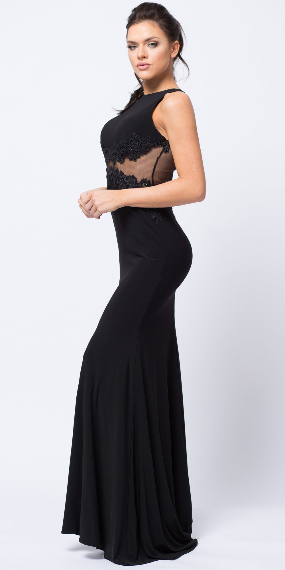 Image of Lace Accent Sheer Waist Long Formal Evening Jersey Dress in Black