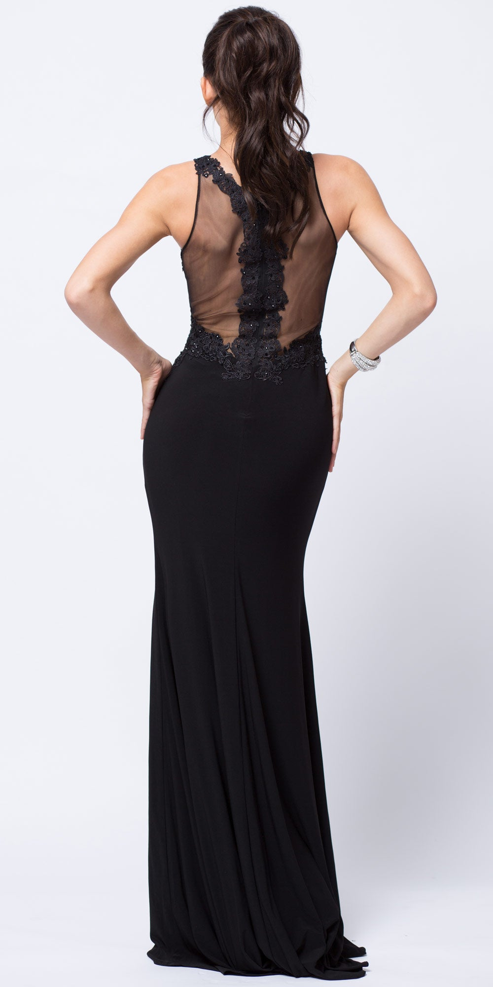 Back image of Lace Accent Sheer Waist Long Formal Evening Jersey Dress